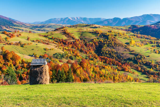 mountainous countryside in autumn stock photo