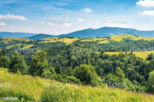Photo of mountainous countryside on a hot summer afternoon