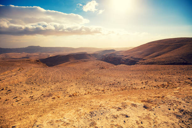 bergiga öknen med en vacker molnig himmel. öken i israel vid solnedgången - vildmark bildbanksfoton och bilder