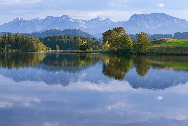 A mountainous forest reflecting in a lake stock photo