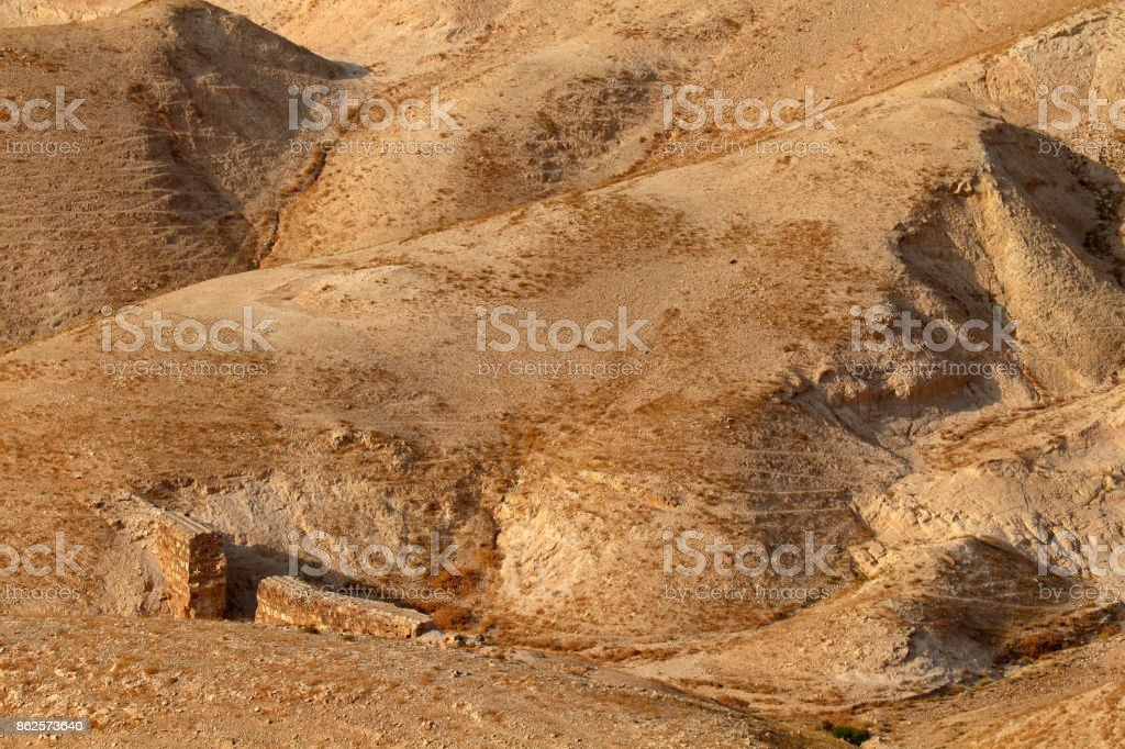 Mountainous Judean desert landscape stock photo