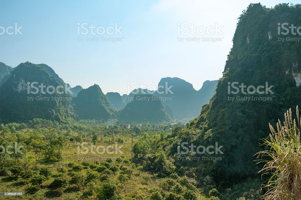 Mountainous Karst Landscape On Cat Ba Island, Halong Bay, Vietnam stock photo