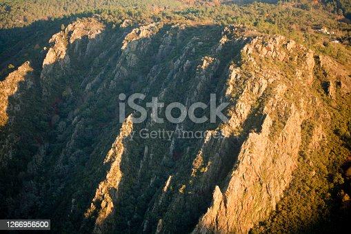 Mountainous landscape, river Sil canyon, Ribeira Sacra, Galicia, Spain, Doade area, Duque viewpoint. High angle view at dusk.