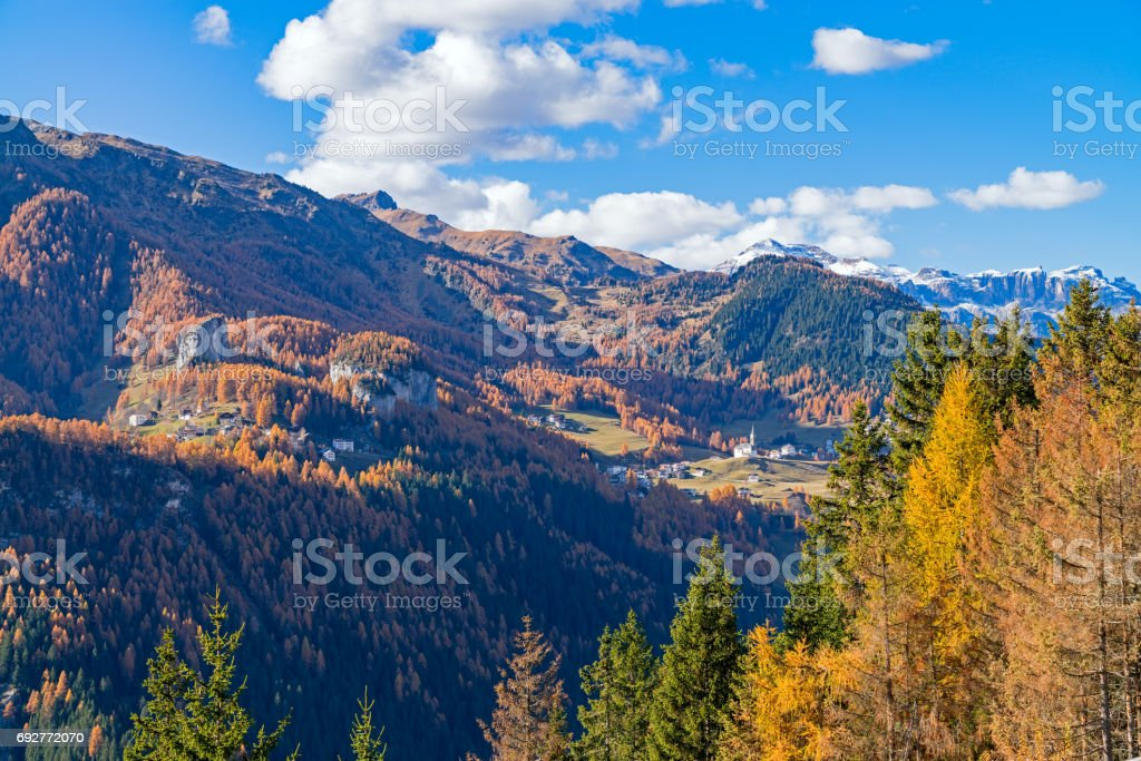 Mountainous landscape with the villages of Colle Santa Lucia and Selva di Cadore, at the Dolomites stock photo