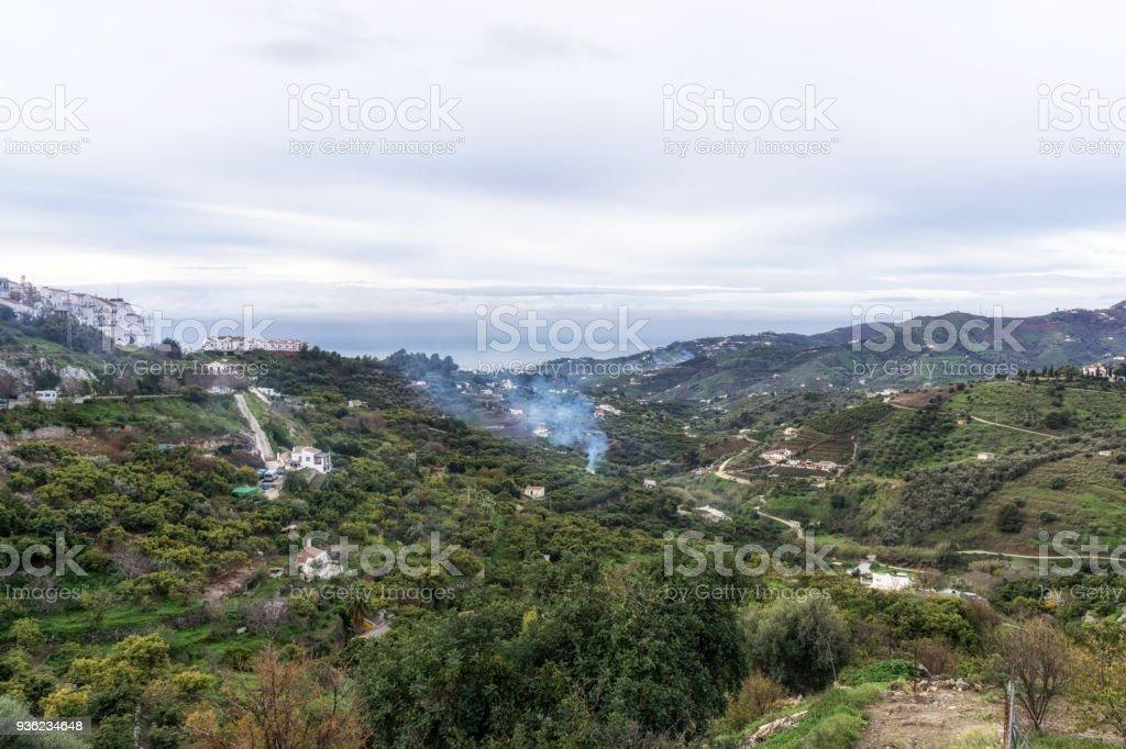 Mountainous regions in Frigiliana stock photo