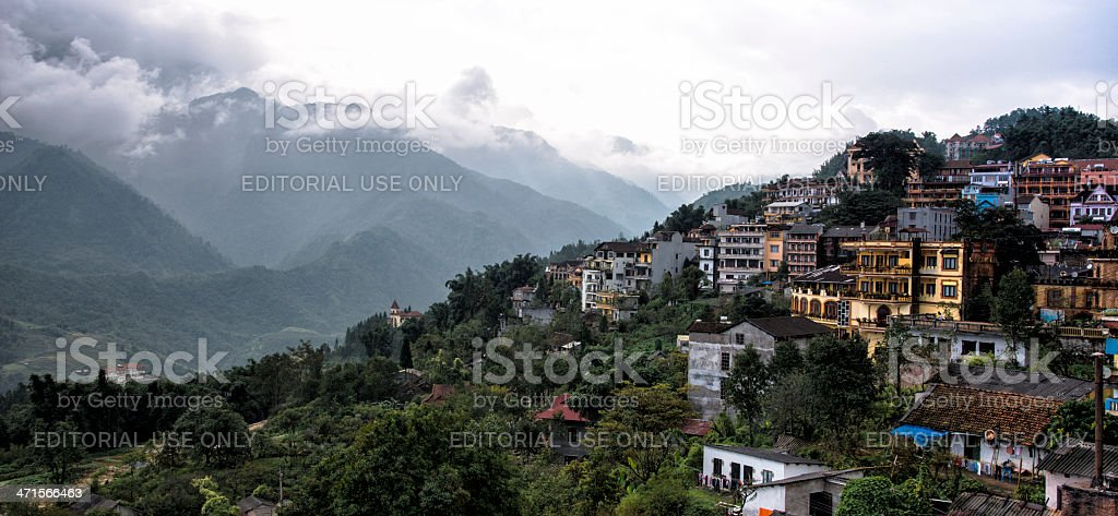 Mountainous Sapa with cloudy hills of rice terraces on background royalty-free stock photo