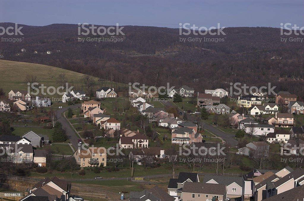 Mountainous suburban area stock photo