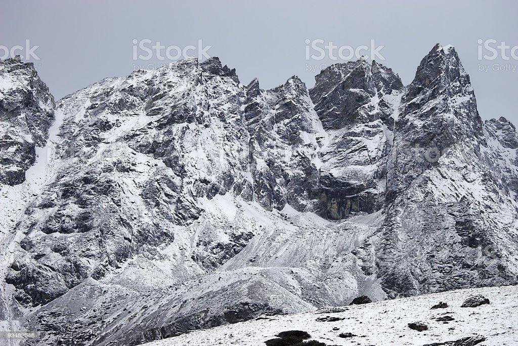 산 불빛들과 얼음으로 둘러싸인 후, Himalaya, 네팔 - 로열티 프리 0명 스톡 사진