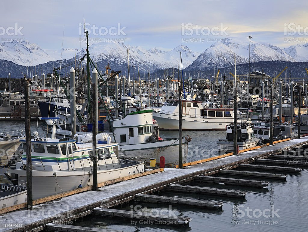 Mountains And Boats stock photo