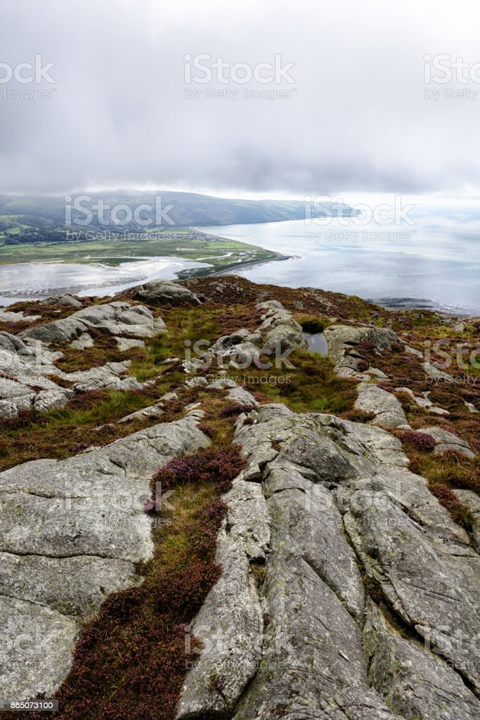 Mountains and coastline at Barmouth, Wales stock photo