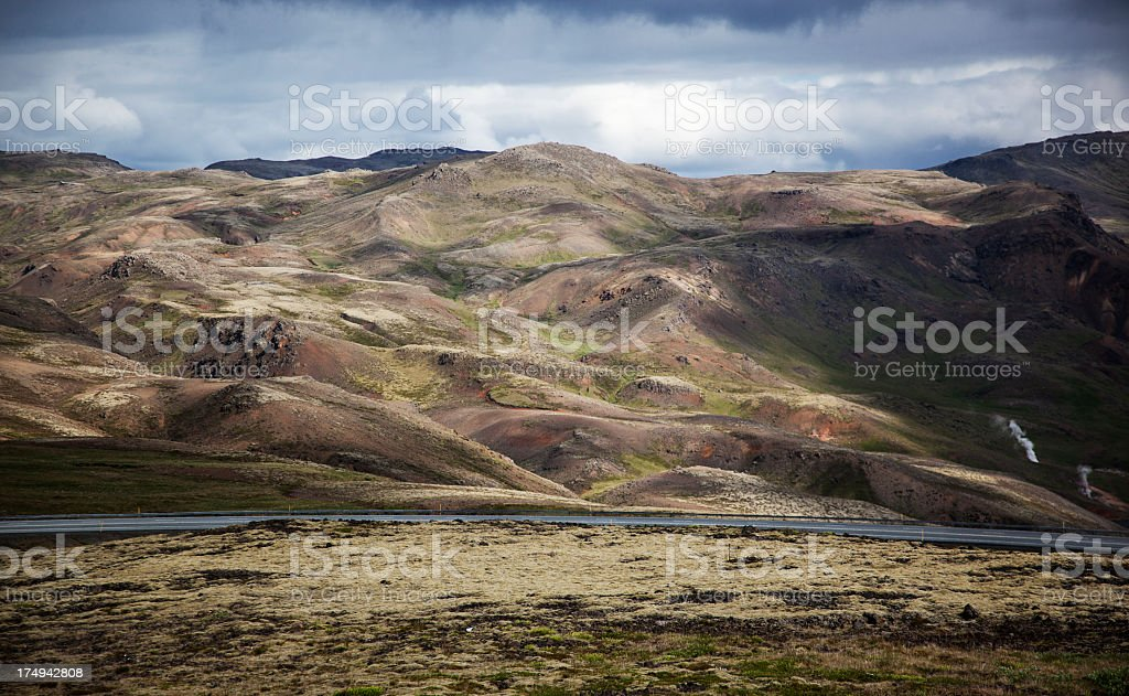 mountains and highway royalty-free stock photo