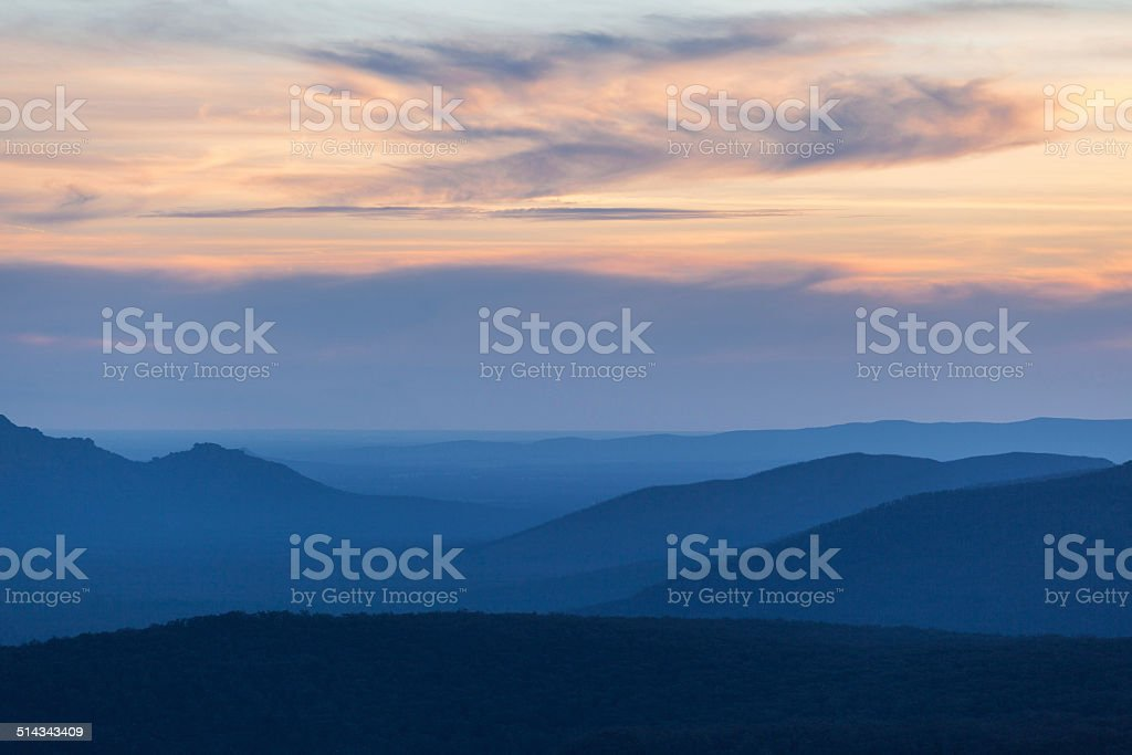 Mountains and Hills at Grampians National park on sunset stock photo