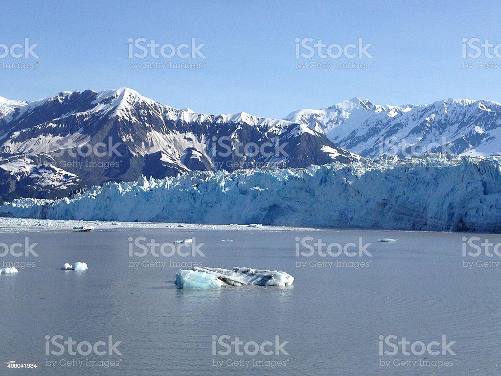Mountains and iceberg at Hubbard Glacier stock photo