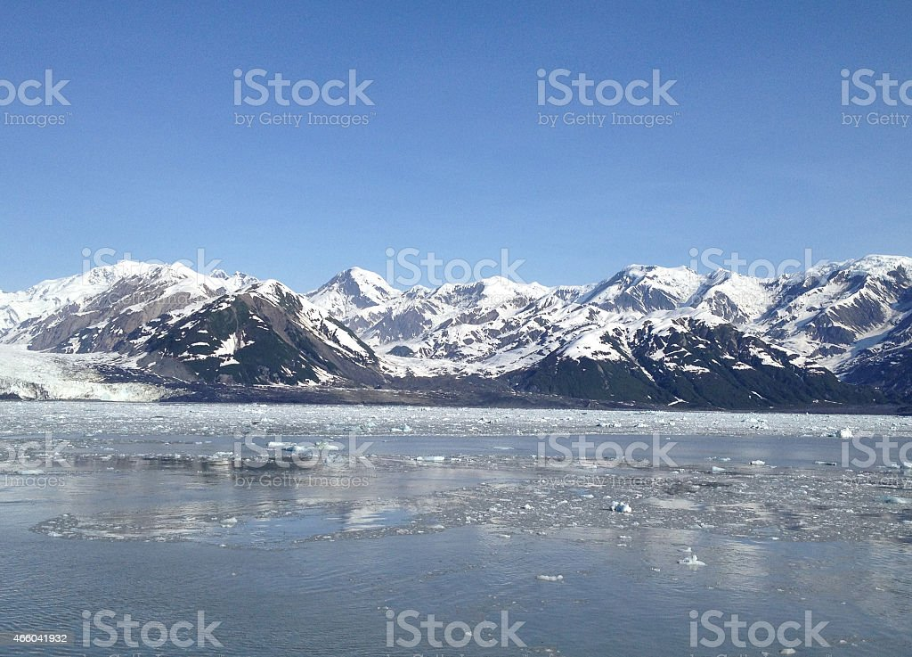Mountains and icy waters at Hubbard Glacier stock photo