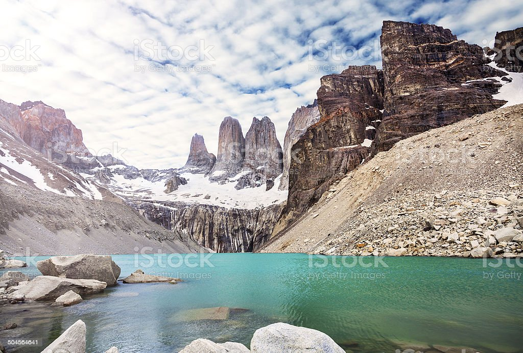 Mountains and lake in Torres del Paine National Park, Patagonia, stock photo