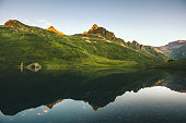 Mountains and Lake mirror reflection scenic view Landscape summer Travel ecology nature concept
