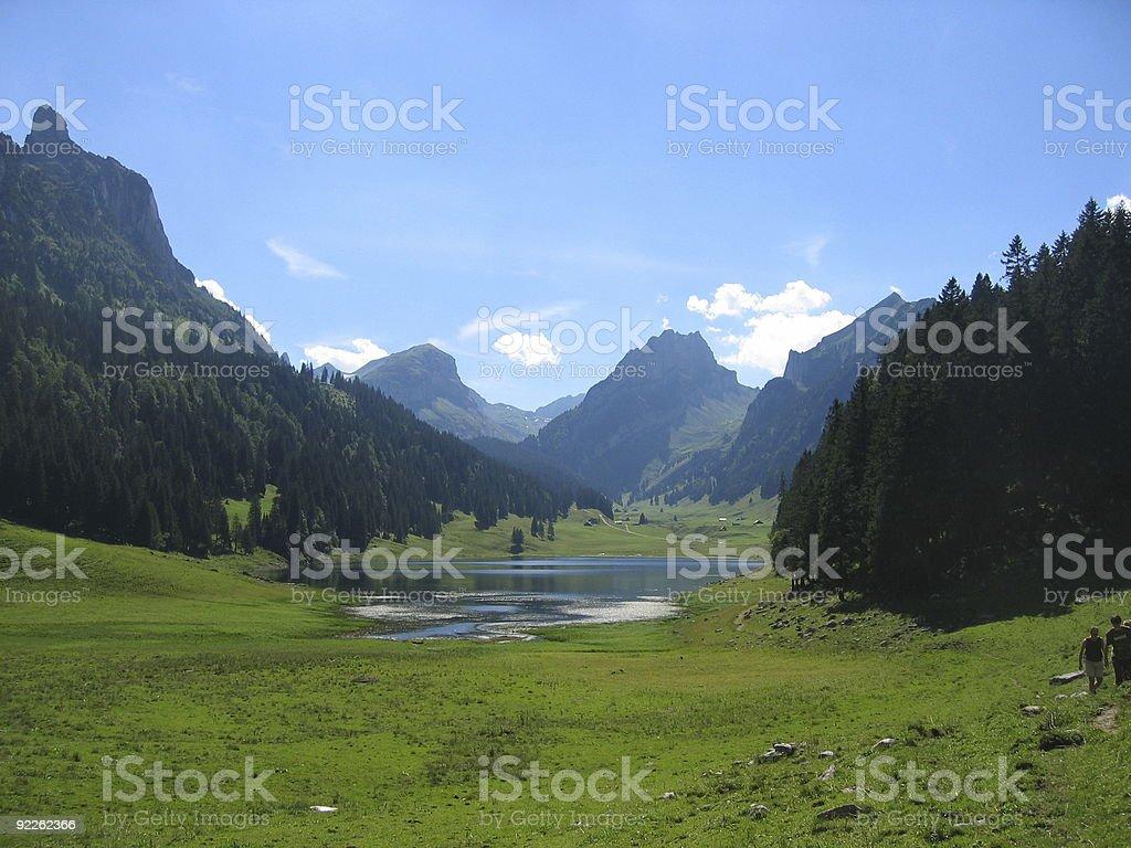 mountains and lake royalty-free stock photo