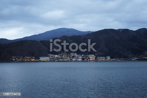Mountains and lakeside residences in Yamanashi prefecture in the evening