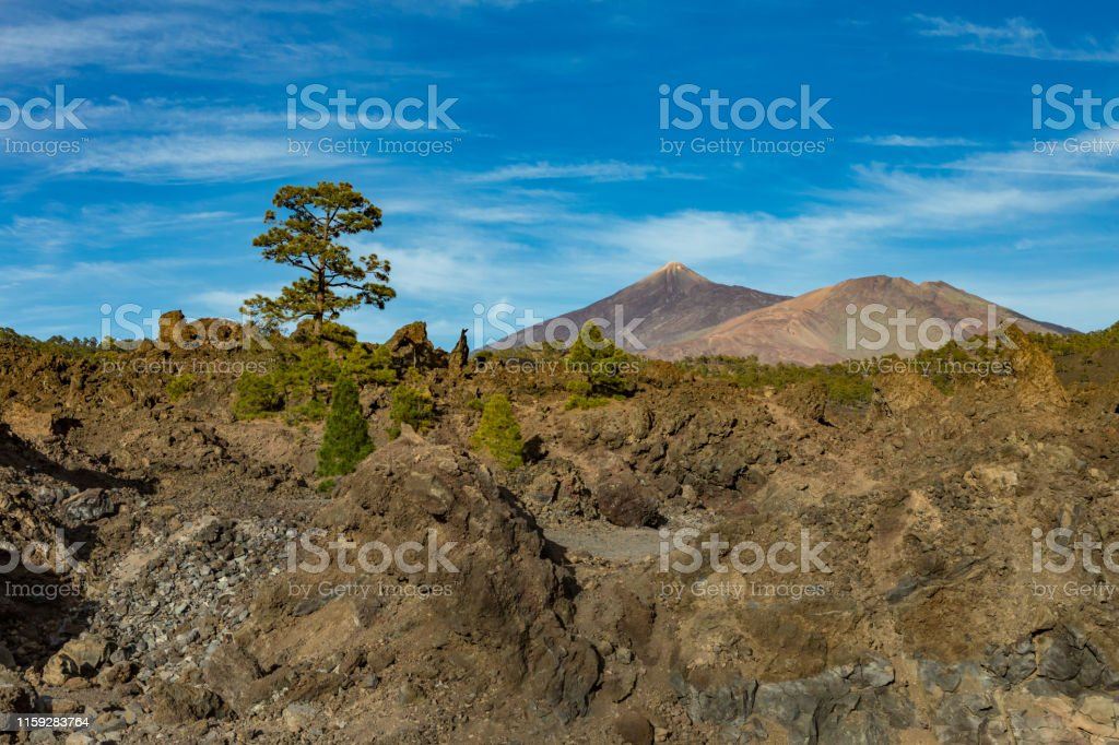Mountains And Lava Fields Around Volcano Teide Partly ...