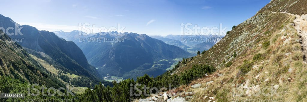 Mountains and peaks landscape, natural environment. Hiking in the alps. Tirol, Austria, Europe stock photo