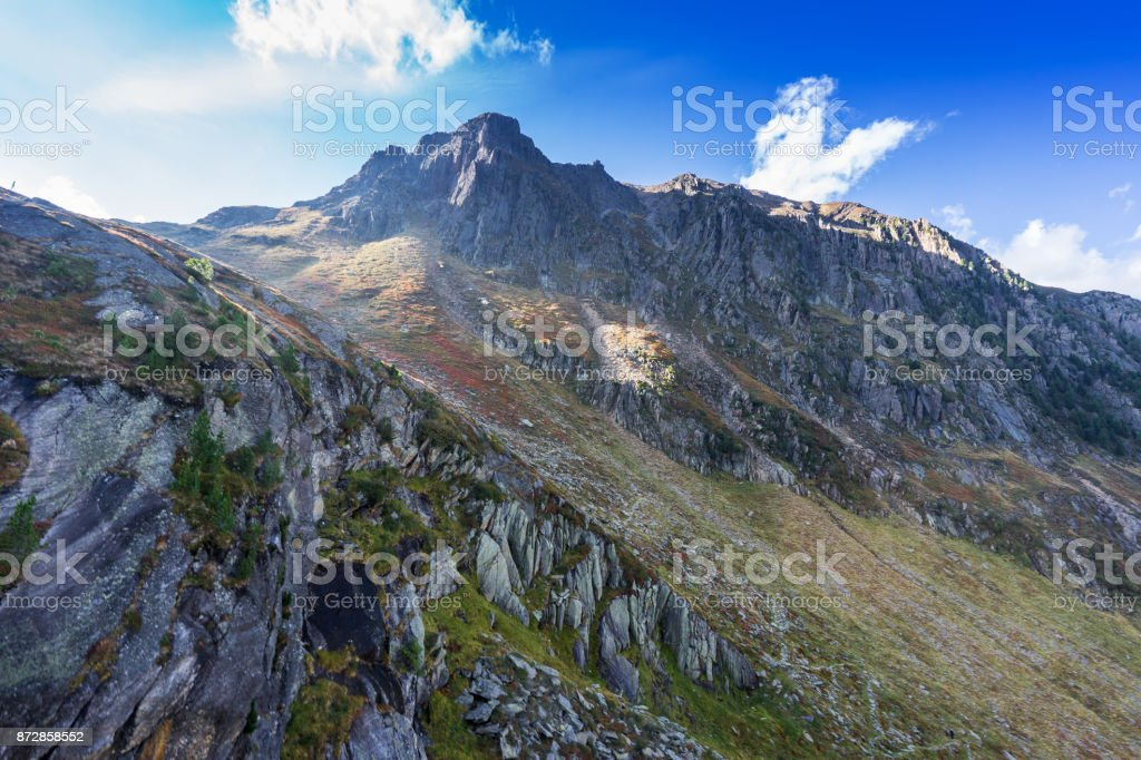 Mountains and peaks landscape. Stubaier Gletscher covered with glaciers and snow, natural environment. Hiking in the Stubai Alps. Ski resort in Tirol, Austria, Europe stock photo