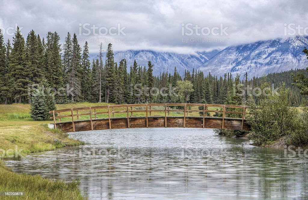 Mountains and pond in Banff Canada royalty-free stock photo