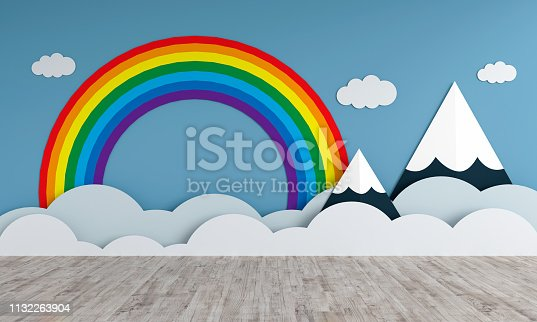 istock Mountains and rainbow in empty children room for mockup, 3D rendering 1132263904