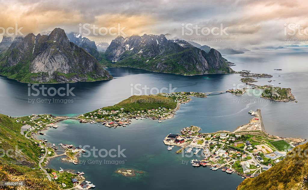 Mountains and  Reine in Lofoten islands, Norway stock photo