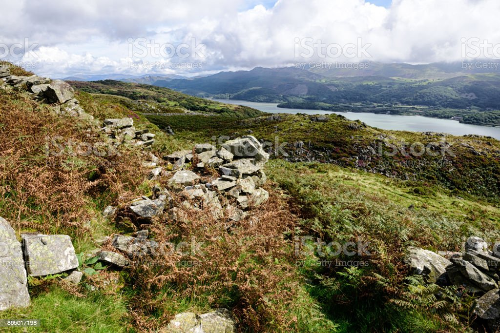 Mountains and River Mawddach,  Barmouth, Wales stock photo