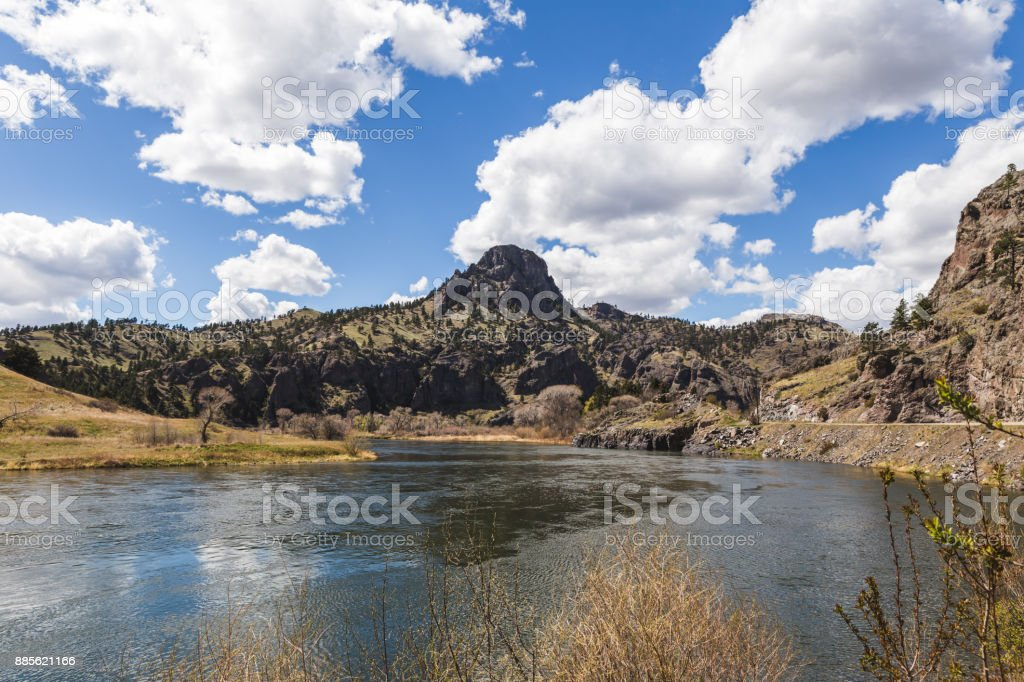 Mountains and Rock Formations on the Missouri River stock photo