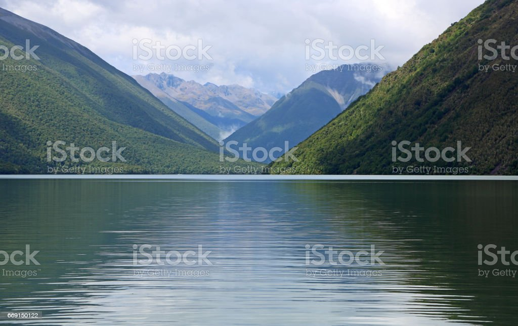 Mountains and Rotoiti Lake stock photo