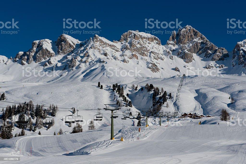 Mountains and Ski Slopes in Passo San Pellegrino stock photo
