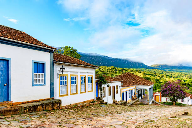 Mountains and streets of the old and historic city of Tiradentes stock photo