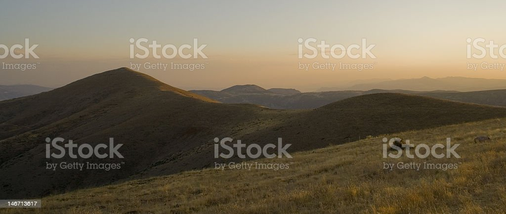 Mountains And Sunset stock photo