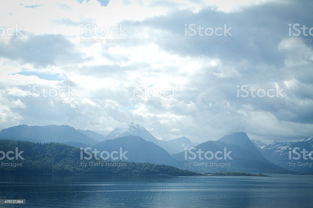 mountains and the sea stock photo