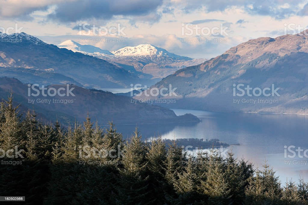 Mountains and trees near Loch Lomond royalty-free stock photo