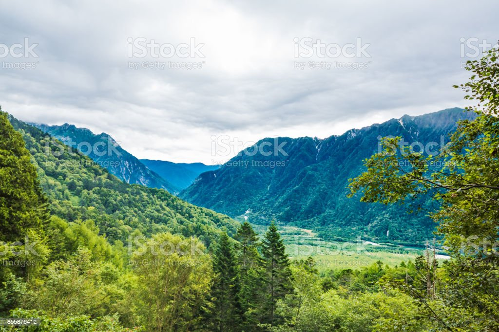 Mountains and trees stock photo