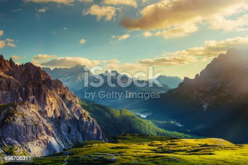 istock Mountains and valley at sunset 496705311