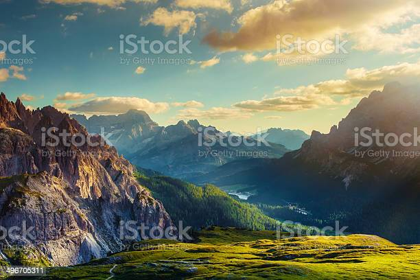 Photo of Mountains and valley at sunset