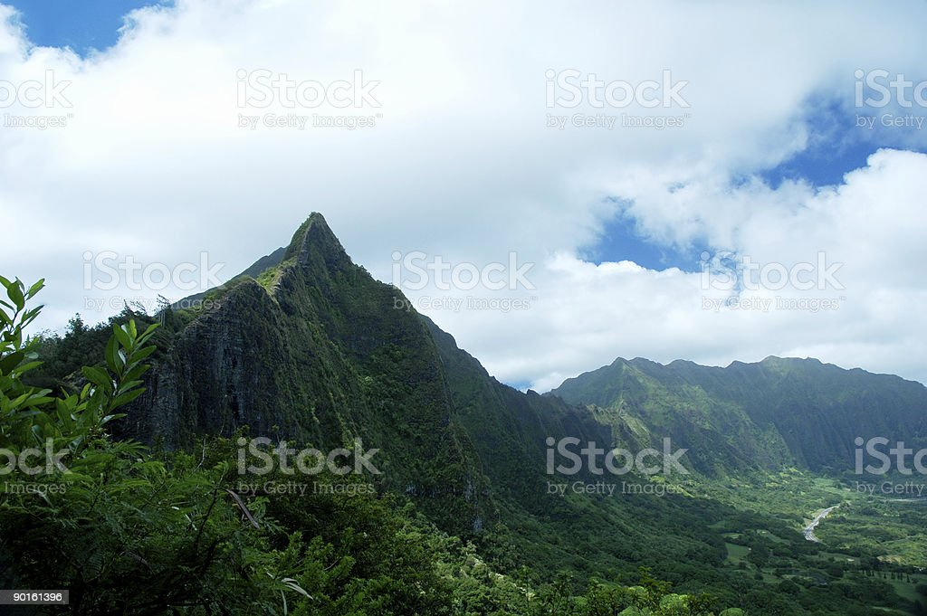 Mountains and vegetation in Hawaii stock photo