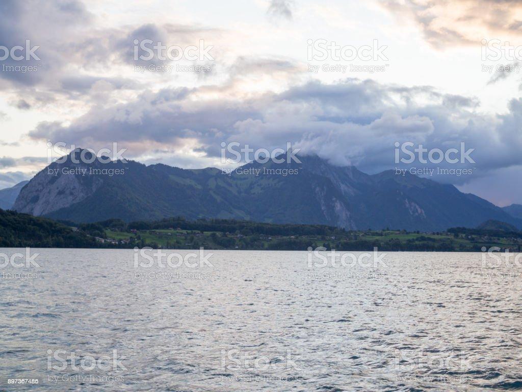 Mountains around Thun lake, Switzerland stock photo