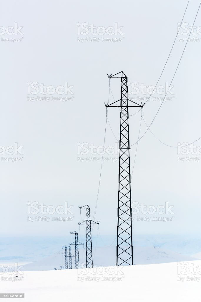mountains at Eastern of Turkey with Pylons stock photo
