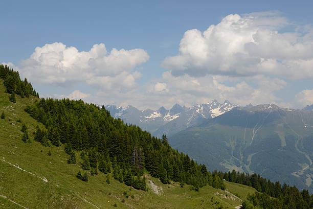 berge im fiss, österreich - fiss tirol stock-fotos und bilder