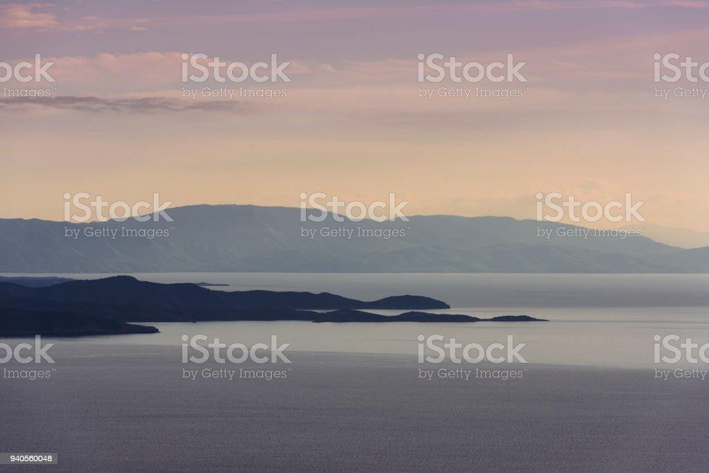 Mountains at Gokova bay stock photo