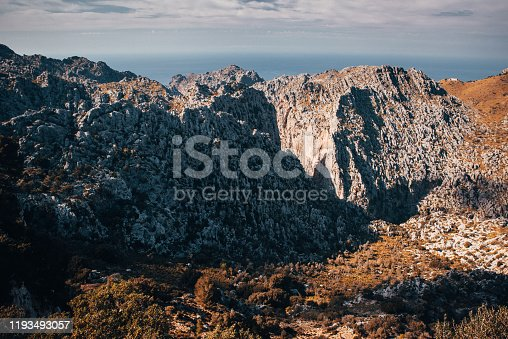 Mountains at Majorca, Spain in warm sunset light.