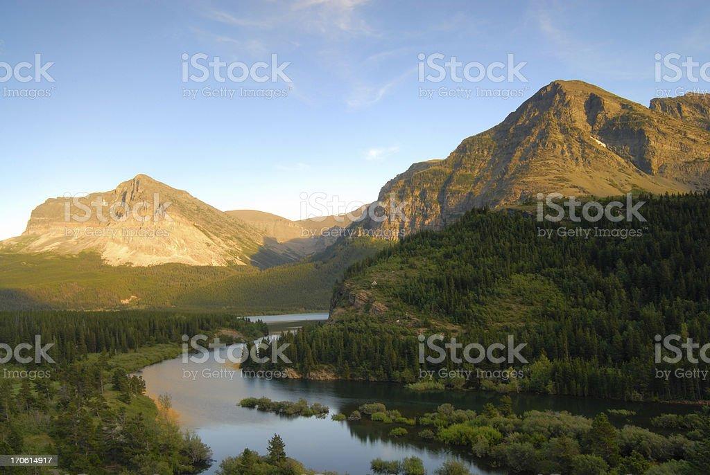 Mountains at Many Glaciers royalty-free stock photo