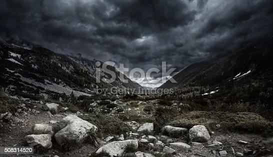 Mountains at storm. Stock photo. Panoramic Shot.