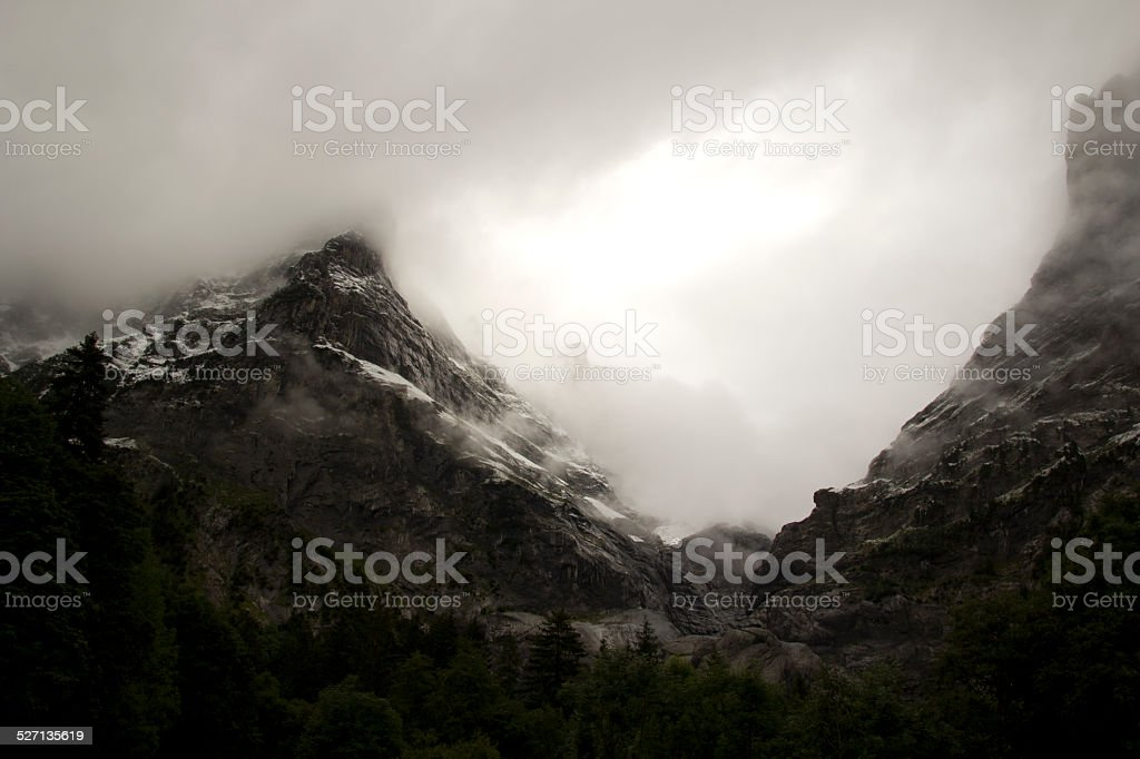 Mountains at sunrise stock photo