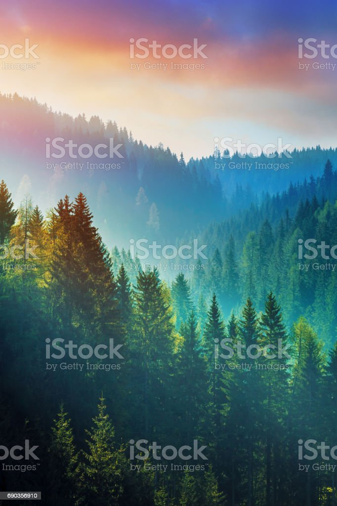 Mountains at sunrise - the Dolomites in South Tyrol, Italy stock photo