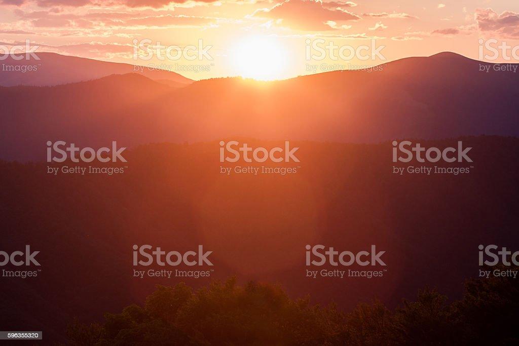 Mountains at sunset. Carpathians royalty-free stock photo